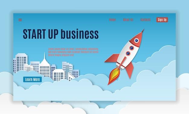 Startlandung. mobil-schnittstellenvorlage der startseite der website des kreativen unternehmensprojekts und banner für apps mit raketenstart