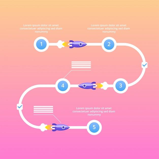 Startprojekt schritte infografiken. flache illustration des vektors