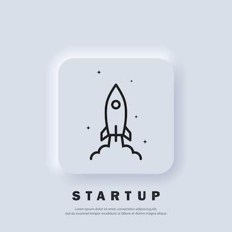 Startrakete. startsymbol. raketenstart und rauch. konzept für ein startup-projekt. vektor. ui-symbol. neumorphic ui ux weiße benutzeroberfläche web-schaltfläche.