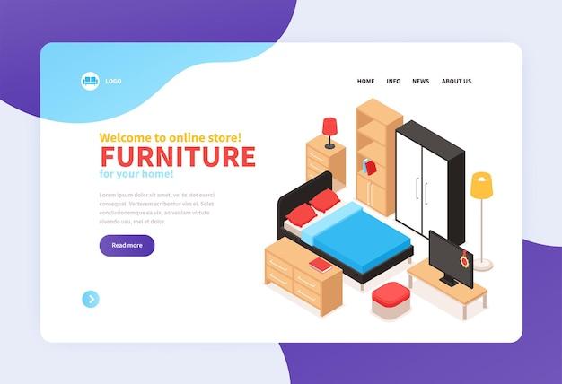 Startseite des möbel-onlineshops mit kontaktinformationen und isometrischen einrichtungsgegenständen