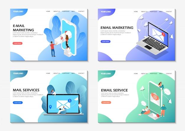 Startseiten. e-mail-marketing, e-mail-service, mail-dienste. satz von webseiten.