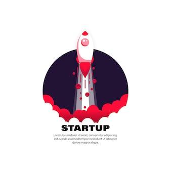Startsymbol. rakete. raketenschiff für geschäftskonzept. vektor auf weißem hintergrund isoliert. eps 10.