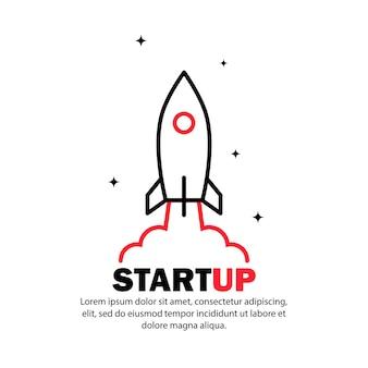Startsymbol. raketenstart und rauch. konzept für ein startup-projekt. vektor auf weißem hintergrund isoliert. eps 10.