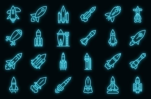 Startsymbole für raumschiffe festgelegt. umrisse von raumschiffen starten vektorsymbole neonfarbe auf schwarz