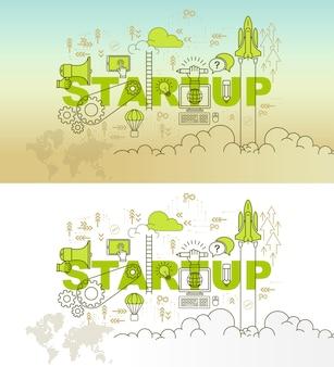 Startup-banner-hintergrund-design-konzept