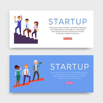 Startup banner inschrift, set websites, business promotion konzept, unternehmen wachstumstechnologie, illustration.