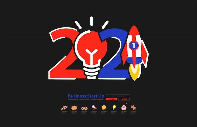 Startup business 2021 neujahrsraketenstart mit kreativen glühbirnenideen