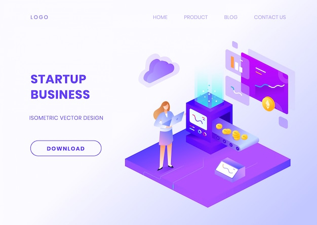 Startup business website vorlage mit isometrischer illustration