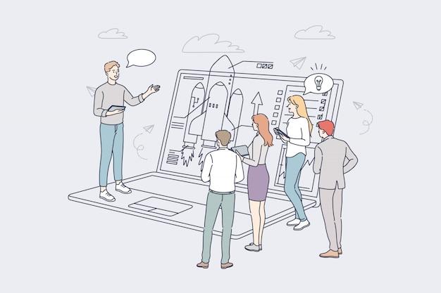 Startup, business, zielerreichung, erfolg, teamwork-konzept