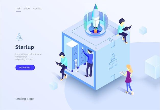 Startup eine gruppe von personen, die an der einführung eines neuen projekts arbeiten teamwork eine gruppe von personen im arbeitsprozess landing page vector illustration eines isometrischen stils auf einem weißen hintergrund