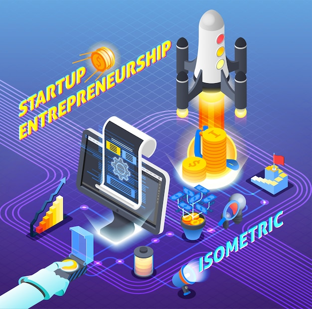 Startup entrepreneurship isometric composition