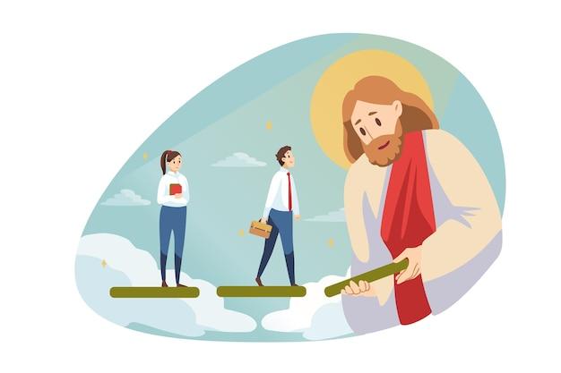 Startup, erfolg, religion, christentum, hilfe, geschäftskonzept. jesus christus sohn gottes messias hilft glücklichen jungen geschäftsmann frau angestellter manager vorwärts. göttliche unterstützung oder zielerreichung