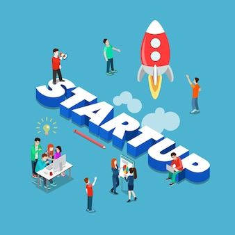 Startup flat isometric style technologie geschäft