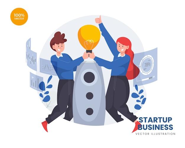 Startup-geschäftskonzept mit frau und mann, die raketenstart und ideenbirne vorbereiten