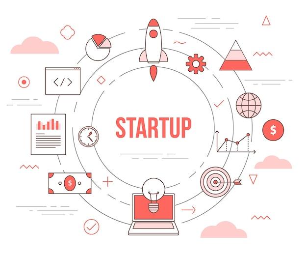 Startup-geschäftskonzept mit illustrationssatzschablone mit modernem orangefarbenem farbstil