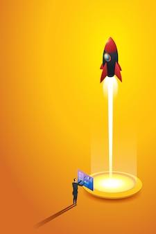 Startup-geschäftsmann startet eine raketenanalyse seines unternehmenswachstums. isometrisches konzept. illustration