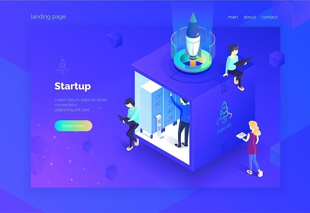 Startup-gruppe von leuten, die an der einführung einer neuen projekt-landingpage arbeiten