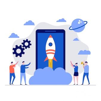 Startup-illustrationskonzept mit charakteren und raketenstart.