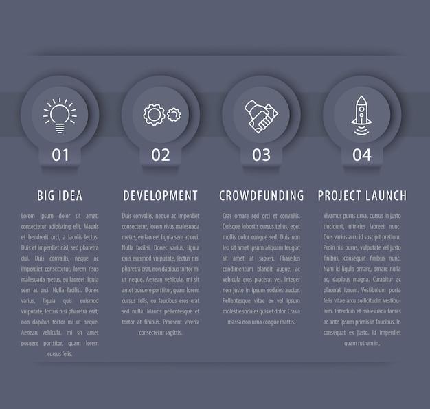 Startup-infografik-designelemente, 1, 2, 3, 4, schritte, zeitleiste in grau, vektorillustration
