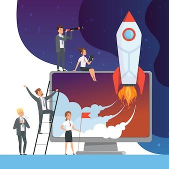 Startup-konzept starten. geschäfte der bürovorsteher mit raketenraum neue idee der netztechnologieabbildungen