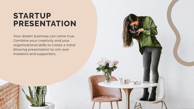 Startup-präsentationsvorlage für fotoshooting