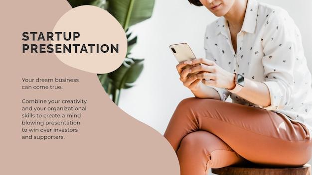 Startup-präsentationsvorlagenvektor für unternehmer