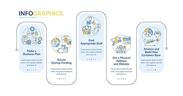 Startup-startschritte vektor-infografik-vorlage. business-präsentation skizzieren gestaltungselemente. datenvisualisierung mit 5 schritten. info-diagramm zur prozesszeitachse. workflow-layout mit liniensymbolen