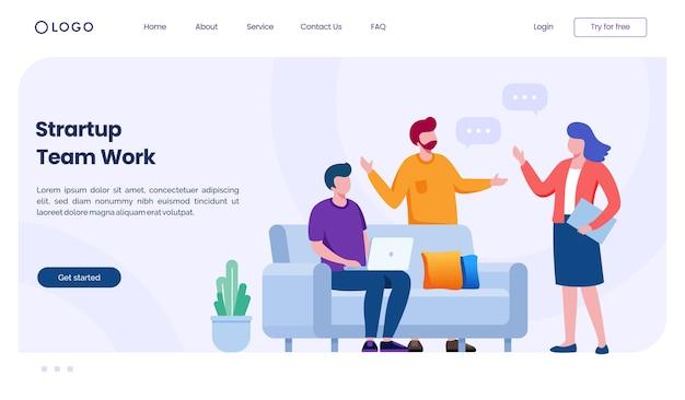 Startup team arbeit landingpage website illustration vorlage