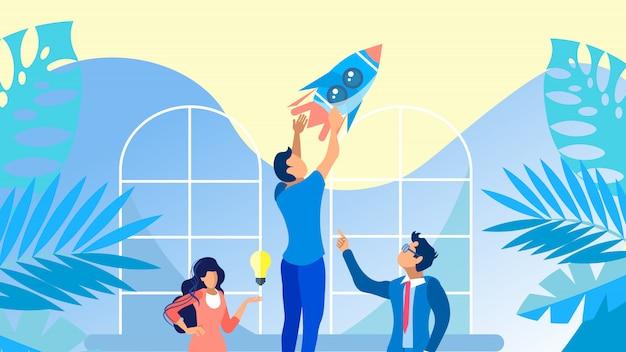 Startup team flache banner vektor vorlage