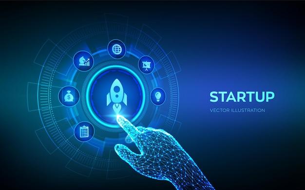 Startup-unternehmensgründung idee durch planung und strategie venture-investitionsgeschäft und entwicklungskonzept auf virtuellem bildschirm roboterhand, die digitale schnittstelle berührt