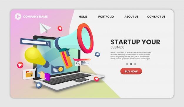 Startvektorkonzept auf laptop-lieferservice auf website oder mobile application vector concept marketing und digitales marketing.