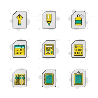 Stationäre symbolsatz in dünne linienart. icons set abbildung