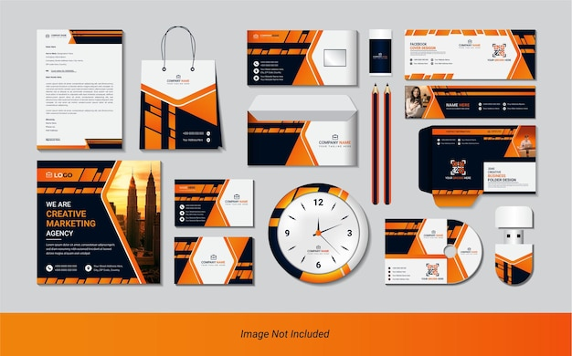 Stationäres set mit kreativen abstrakten formen mit einfacher farbverlaufsfarbe.