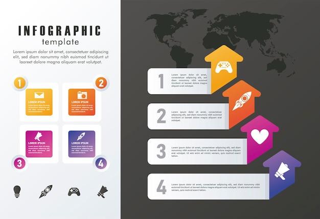 Statistik infografiken schritte mit pfeilen und quadraten in grauem und schwarzem hintergrund