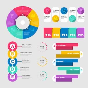 Statistische diagramme in einer vorlage mit lebendigen farben