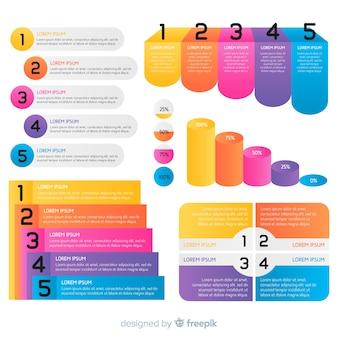 Statistische infografik-vorlagen in verlaufsfarben