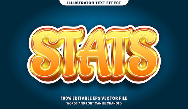 Stats 3d bearbeitbarer textstileffekt
