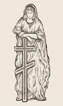 Statue der jungfrau maria mit einem kreuz