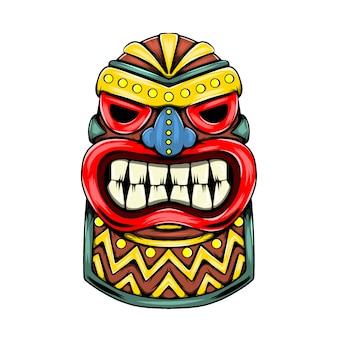 Statue inspiration von der tiki-insel charakteristisch mit dem runden goldenen akzent