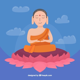 Statue von buddha-hintergrund in der flachen art