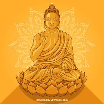 Statue von buddha in der goldenen art