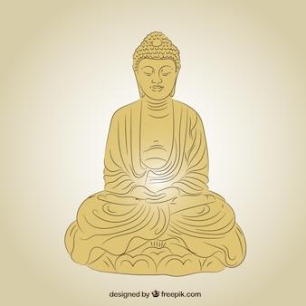Statue von buddha in der goldenen farbe