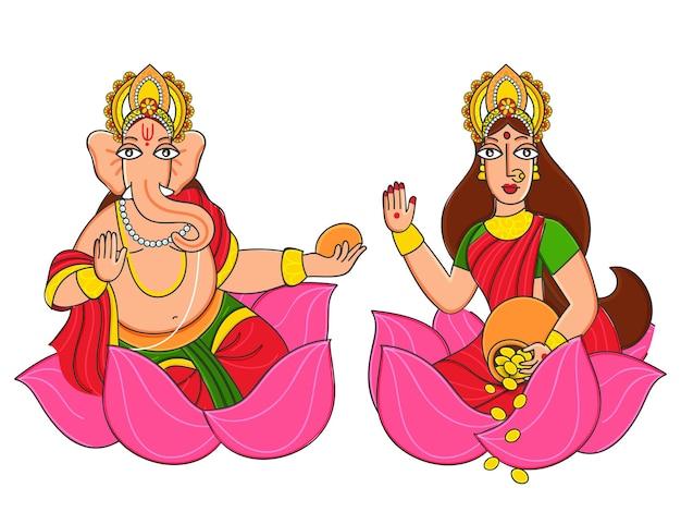 Statue von lord ganesha und der göttin lakshmi, die auf lotosblume sitzen.