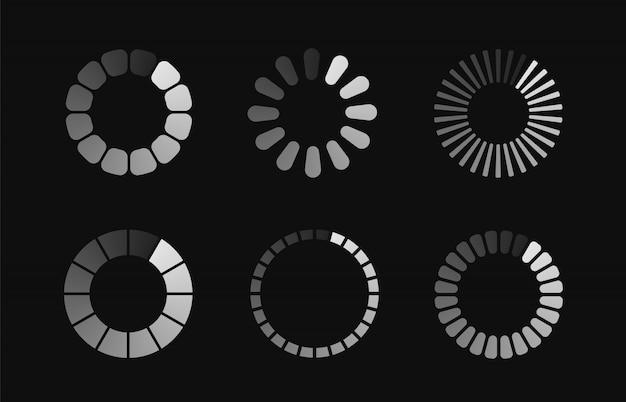 Statussymbole herunterladen oder hochladen. circle website buffer loader oder preloader. stellen sie verschiedene ladesymbole ein.