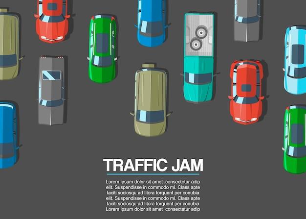 Stau und städtische transportvektorillustration. draufsicht der straße mit landstraßen viele verschiedenen autos und fahrzeuge. stadtinfrastruktur mit verkehrsstau.