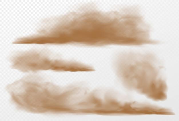Staub- und sandwolken auf transparentem hintergrund. illustration