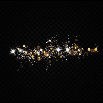 Staub. weiße funken und goldene sterne leuchten mit besonderem licht.