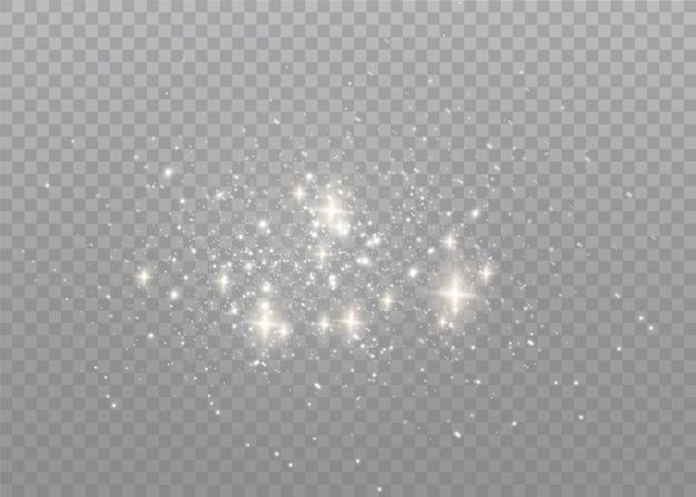 Staubfunken und goldene sterne leuchten mit besonderem licht.