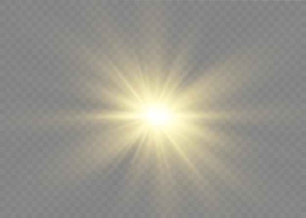 Staubfunken und goldene sterne leuchten mit licht