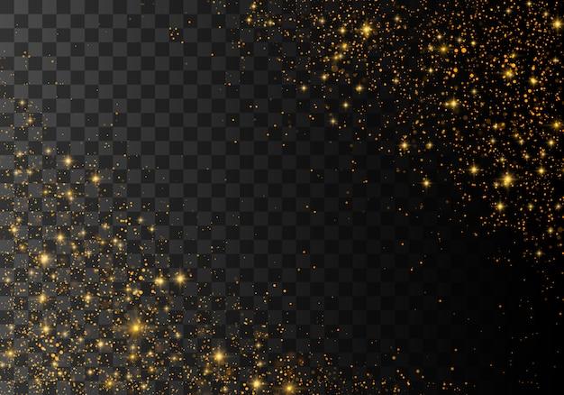 Staubfunken und goldene sterne leuchten